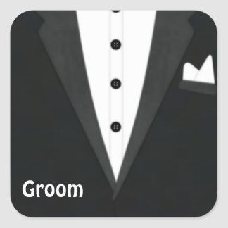 Groom Tux Square Sticker