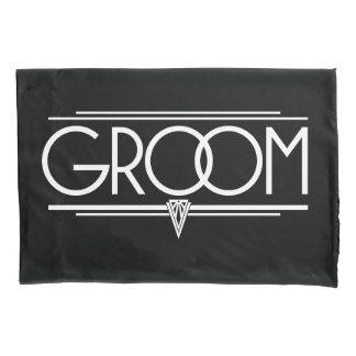 GROOM Type Hand Lettering - Art Deco Elegant White Pillowcase