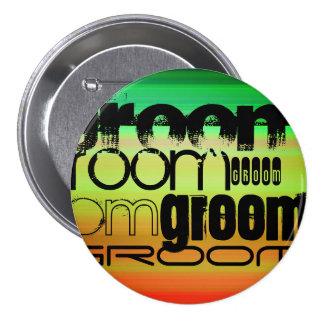 Groom; Vibrant Green, Orange, & Yellow 7.5 Cm Round Badge