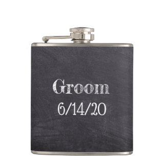 Groom Wedding Black Chalkboard Whisky Flask
