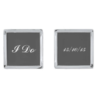 Groom wedding date silver finish cufflinks