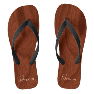 Groom Wedding Day Rustic Wood Look Beach Honeymoon Thongs