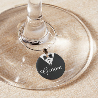 Groom Wedding Toast Wine Glass Charm