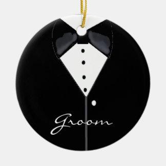 Groom Wedding Tuxedo Ceramic Ornament
