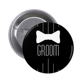 Groom White Bowtie 6 Cm Round Badge