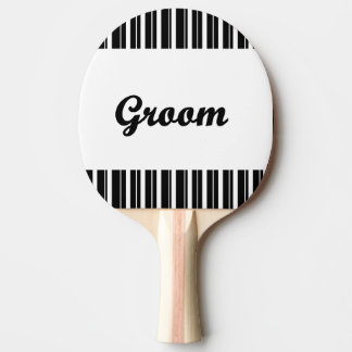 groom with black and white stripes ping pong paddle