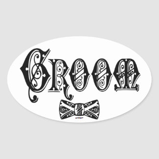 Groom with Bow Tie Black Type Stickers