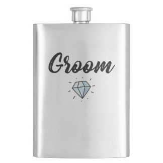 Groom with Diamond Wedding Gift Hip Flask