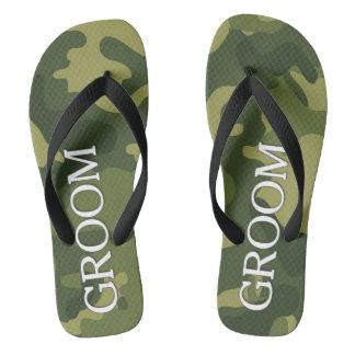Groom with Green Camoflauge Pattern Thongs