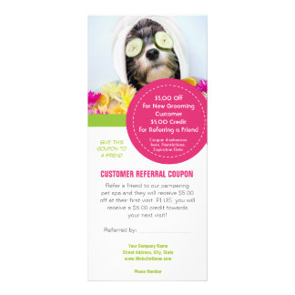 Grooming customer referral coupons rack card design