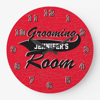 Grooming Room Cracked Paint Personalize Large Clock