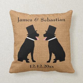 Grooms Black Labradors Personalized Gay Wedding Cushion