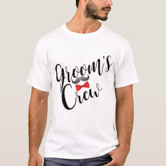 Groom's Crew Mustache and Bow Tie T-Shirt
