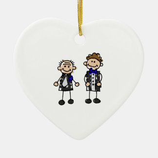 Grooms in Love Ceramic Heart Decoration