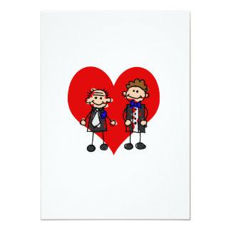 "Grooms on a heart 5"" x 7"" invitation card"