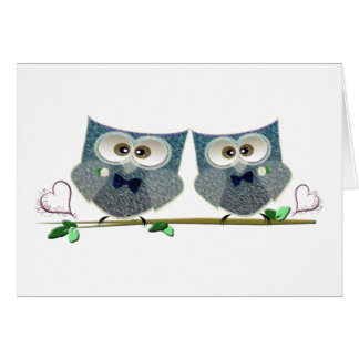 Grooms Owls Wedding Gifts Card