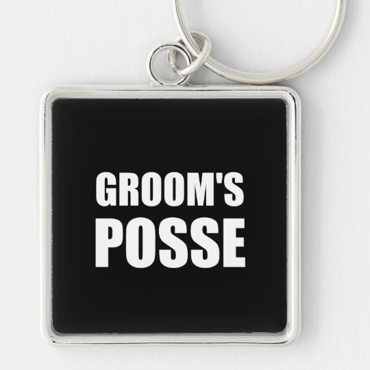 Grooms Posse Silver-Colored Square Key Ring