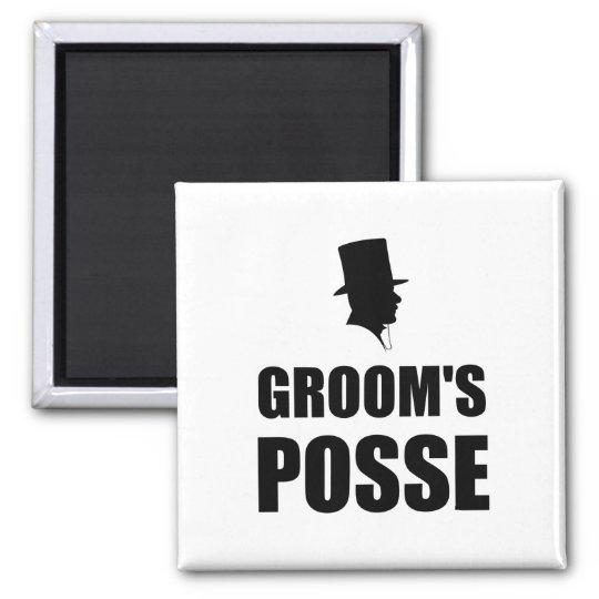 Grooms Posse Square Magnet