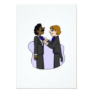 Grooms preparing for wedding Interracial 13 Cm X 18 Cm Invitation Card