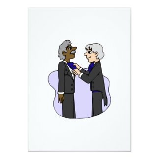 Grooms preparing for wedding Old Interracial 5x7 Paper Invitation Card