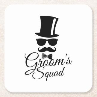 Groom's squad square paper coaster