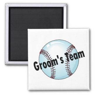 Grooms Team Baseball Square Magnet