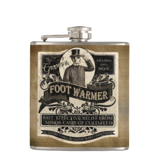 Groom's Vintage Foot Warmer Hip Flask