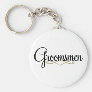 Groomsman Basic Round Button Key Ring