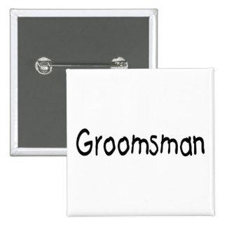 Groomsman (Blk) 15 Cm Square Badge