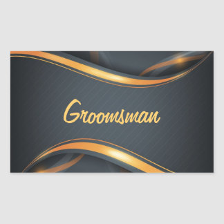 Groomsman (blk/gd) rectangular sticker