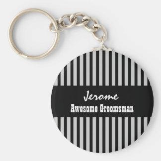 GROOMSMAN Custom Name Black Silver STRIPES V05 Basic Round Button Key Ring