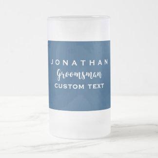 Groomsman Custom Wedding Favor Modern Monogram Frosted Glass Beer Mug