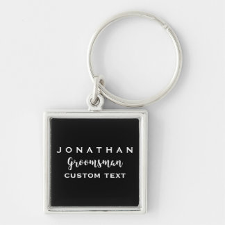 Groomsman Custom Wedding Favor Modern Monogram Silver-Colored Square Key Ring