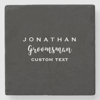 Groomsman Custom Wedding Favor Modern Monogram Stone Coaster