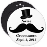 Groomsman Moustache and Top Hat Pin-Back Button