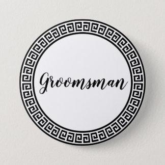 Groomsman pin/label 7.5 cm round badge