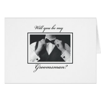 Groomsman Request Black, White Card