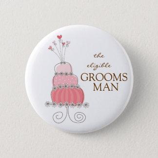 GROOMSMAN Sweet Pink Wedding Cake Name Tag Button