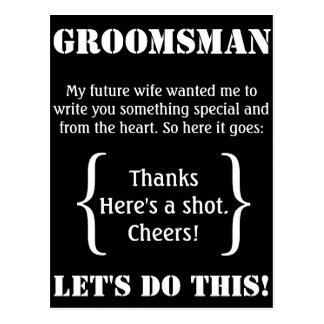 Groomsman Thank You Postcard