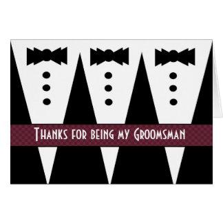Groomsman Thank You - Three Tuxedos - Customizable Greeting Card