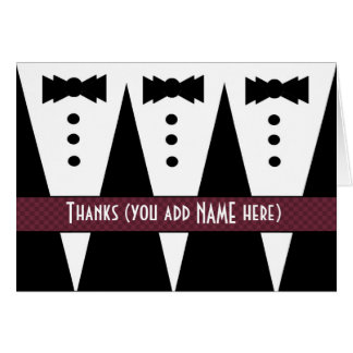 Groomsman Thank You Three Tuxedos Customizable V2 Card