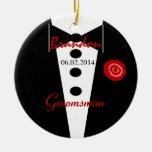 Groomsman Wedding Favour Custom Name Tux Round Ceramic Decoration