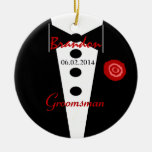 Groomsman Wedding Favour Custom Name Tux Round Ceramic Decoration