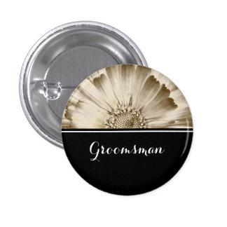 Groomsman Wedding Gold Daisy 3 Cm Round Badge