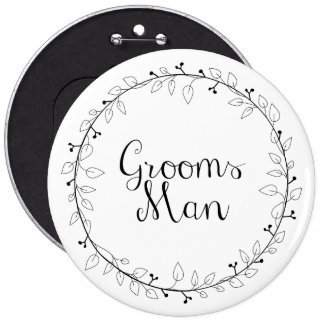 Groomsman wedding name tags 6 cm round badge