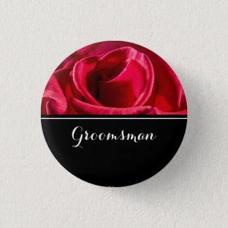Groomsman Wedding Red Roses 3 Cm Round Badge