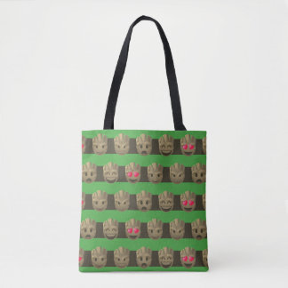 Groot Emoji Stripe Pattern Tote Bag