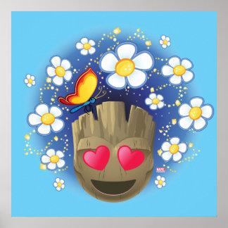 Groot In Love Emoji Poster