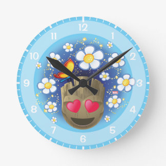 Groot In Love Emoji Round Clock