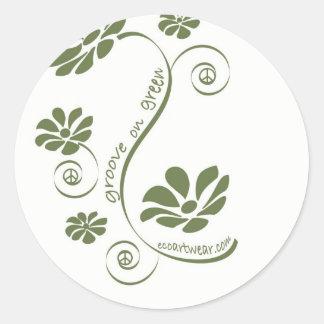 Groove on Green! Round Sticker